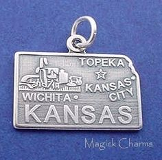 Sterling Silver .925 KANSAS State Map Wizard Of Oz Charm