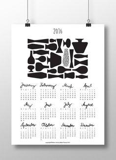 """Druckbare Kalender 2016, DIY, Planer, Wand-und Tischkalender, Agenda, Digital, JPG, zeitgenössischen Design-Kalender mit Kalligraphie: """"Vasen"""""""