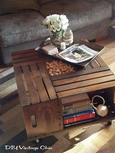 DIY Vintage Chic: Vintage Wine Crate Coffee Table Use crates to make a coffee table with lots of storage. Just attach the crates to a large board and add casters Wine Crate Coffee Table, Coffee Tables, Coffee Desk, Coffee Wine, Coffee Cup, Diy Tisch, Diy Casa, Wooden Crates, Wine Crates