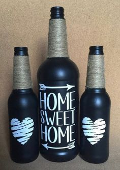 Home Sweet Home Painted Wine and Beer Bottles, set of three (Bottle Painting Ideas) Beer Bottle Crafts, Wine Bottle Corks, Diy Bottle, Beer Bottles, Crafts With Bottles, Bottles And Jars, Recycled Wine Bottles, Painted Wine Bottles, Garrafa Diy