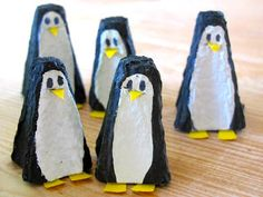Penguins join the party. Egg carton penguins from the craft book, 'Make Your Own Zoo' Toddler Crafts, Diy Crafts For Kids, Projects For Kids, Art For Kids, Craft Ideas, Penguin Craft, Egg Carton Crafts, Recycled Crafts, Recycled Materials