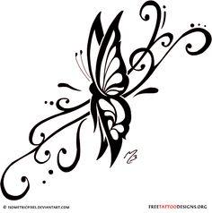 Swirly butterfly tattoo design
