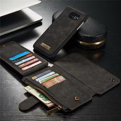 CaseMe Vintage Leather Multifunctional Detachable Zipper Wallet Case For Samsung Galaxy Edge Card Wallet, Card Case, Samsung Accessories, Galaxy S7, Samsung Galaxy, Multifunctional, Vintage Leather, Retro, Smartphone