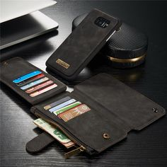 CaseMe Retro Removable PU Zipper Wallet Card Case For Samsung Galaxy S7 Edge Sale - Banggood.com