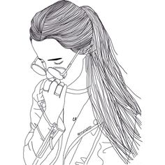 Girl draw We Heart It featuring polyvore, fillers, doodles, drawings, outlines, text, quotes, magazine, saying, scribble and phrase