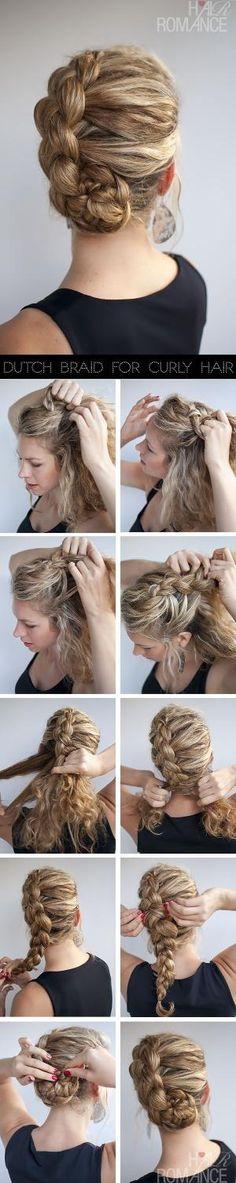 Hairstyle for curly hair: Dutch braid tutorial by lea