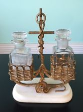 antique victorian brass alabaster double perfume cologne anchor nautical