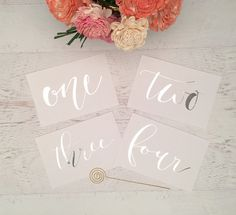 Silver Table Numbers Markers Wedding By Gildedpaperco