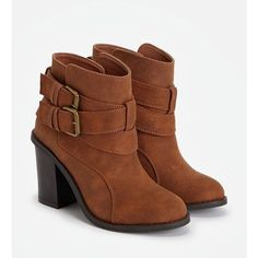 Justfab Booties Branlee ($40) ❤ liked on Polyvore featuring shoes, boots, ankle booties, brown, high heel boots, brown ankle booties, chunky platform boots, chunky platform booties and brown boots