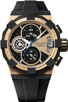 Luxury Concord C1 Mens 18k Rose Gold Chronograph Watch