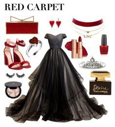 """""""Red carpet ❤"""" by lipstickluck on Polyvore featuring Sara Battaglia, Charlotte Russe, Dolce&Gabbana, OPI, Gianvito Rossi, 1928 and Anastasia Beverly Hills"""