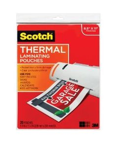 $9.97 Amazon.com: Scotch(TM) Thermal Laminating Pouches, 8.9 Inches x 11.4 Inches, 50 Pouches (TP3854-50): Office Products