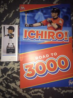 Ichiro Suzuki Miami Marlins Bobblehead Hit Counter Road to 3,000 Poster