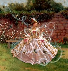 Ruth Sanderson by ofelia  I have no idea what this title is but she is Cinderella on the way to her ball.