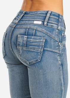 Five-Pocket Butt Lifting Skinny Jeans - pocket detail