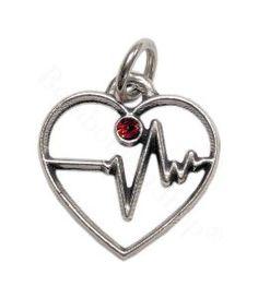 Ciondolo soggetto cuore ecg in metallo argentato | Bomboniere Laurea