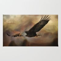 Area & Throw Rug featuring Eagle Flying Free by gypsykissphotography