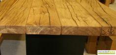 7cm vollmassive #Tisch-Platte Eiche - www.holzmoebelkontor.de Web-Shop: Tisch mit von Hand ausgeschliffener Natur-/Baumkante.