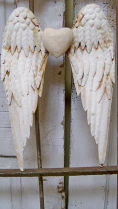 White wings rusty metal with heart shabby chic cottage wall decor sculpture anita spero on Etsy, Sold