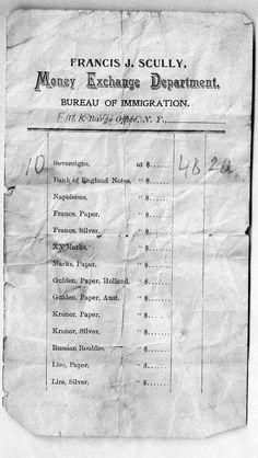 Currency Exchange Receipt for Ellis Island May 1901 Bank Of England, Ellis Island, Genealogy, Irish, Irish Language, Ireland