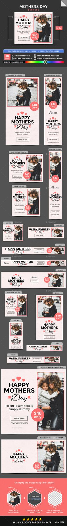 Business Banners by doto Promote your Products and services with this great looking Banner Set. Mother's Day Banner, Summer Banner, Mothers Day Advertising, Banner Template, Sales Template, Google Banner, Facebook Ad Size, Education Banner, Banner Drawing