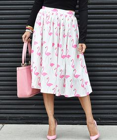 Love this White & Pink Flamingo Midi Skirt on #zulily! #zulilyfinds