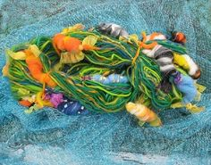 Handspun Art Yarn KOI POND by Fiber Artist Gerry
