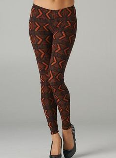 Red and Black Tribal Print Leggings,  Bottoms, tribal print leggings, Casual