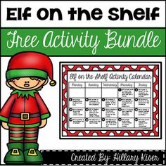 "If you do Elf on the Shelf in your classroom, this bundle will help give you activities to do with your class! Includes:Calendar of Activities to have the elf ""doing"" each day.Materials list for that calendar (materials are minimal!) :)Information Sheet on your ElfElf Memories Book Page (put together for a class book!)Naught/Nice Notice Slips""Today Our Elf"" Journal PagesCompletely Free!"