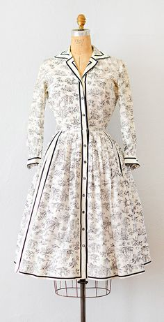 vintage 1950s dress | vintage 50s French toile print dress #1950s #vintage #50sdress