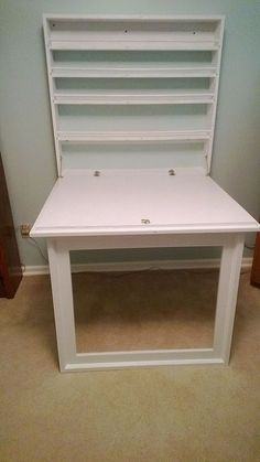 Fold up Craft Table and Storage Shelves. - This is my version of the craft table that my daughter pinned from Inspiration file: Built-in Craft Table via Bubblew…