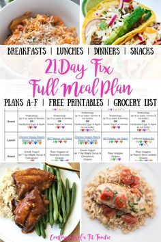 Looking for a 21 Day Fix Full Meal Plan with tried and true recipes?This one contains breakfast lunch dinner and snacks for ALL 21 Day Fix Plans A-D (with tips for E and F) plus an itemized printable grocery list! 21 Day Fix Desserts, 21 Day Fix Snacks, 21 Day Fix Diet, Easy Snacks, 21 Day Fix Breakfast, Breakfast Lunch Dinner, Keto Dinner, 21 Day Fix Meal Plan, Diet Meal Plans