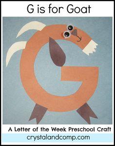Letter G Crafts - Preschool Crafts Preschool Letter Crafts, Alphabet Letter Crafts, Abc Crafts, Preschool Projects, Preschool Literacy, In Kindergarten, Letter Art, Alphabet Books, Letter Tracing
