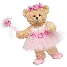This bear and the fairy dress compliment eachother so well. The light pink with the flowers give the whole outfit plus bear a delicate and petite feel.