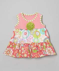 This Coral Crazy Flower Tiered Top - Toddler & Girls by SILLY MILLY is perfect! #zulilyfinds