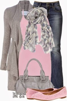 The pink softens the look.  Not a color I normally go for but it looks very classic with the grey.