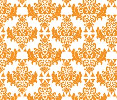 Delicious Damask in Orange fabric by mayabella on Spoonflower - custom fabric