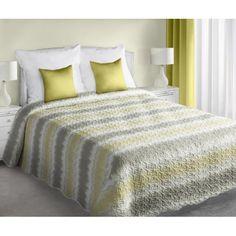 Prehoz na manželskú posteľ obojstranný v bielej farbe so žlto sivými pruhmi
