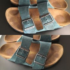 ➕RESERVED kaliptcock➕ Birkenstock Arizona sandals Teal oiled-leather Arizona sandals. Lightly worn. I have included as many pics as possible :) awesome style and color, no longer available through birks. Firm pricing as these are in EXCELLENT condition.  They are a half size too big for me, because they say your feet grow during pregnancy so I bought half size up. Not true, and these are too big  Birkenstock Shoes Sandals