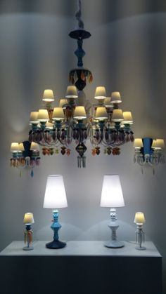 Porcelain chandelier and lights at LLADRO