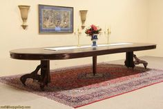 Victorian 5 ft round 1870s Dining Table, extends to 15 ft!                            Ruby Lane Home  >     Harp Gallery Antique Furniture  >   Antiques > Furniture > Dining, Sideboards