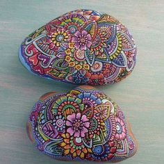 Colorful mandala rock art.
