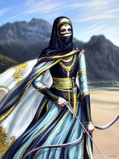 f Rogue Assassin Lt Armor Cloak Longbow Dagger Poison Farmland Hills river conifer forest mixed forest Persian warrior by Develv Fantasy Inspiration, Character Inspiration, Character Portraits, Character Art, Fantasy Characters, Female Characters, Persian Warrior, Arabian Women, Anime Muslim