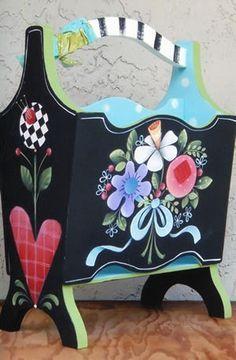 magazine holder decorative painted - Buscar con Google