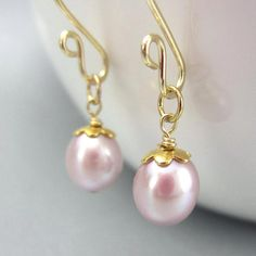 bridesmaids gift idea --- Pink pearl and gold add on earring charms 14K gold by Taurii