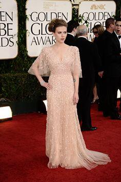 Scarlett Johansson, powder coloured gorgeous dress in The Golden Globes