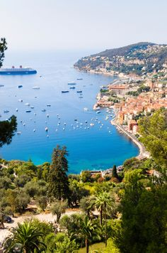 S. France coast. View of sea, city and ships, Villafranche