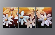 Triptych Contemporary Wall Art Floral Painting Egg Flower On Canvas Modern Oil Painting, Oil Painting Abstract, Abstract Art, Oil Paintings, Flower Painting Canvas, Canvas Wall Art, Flower Paintings, Contemporary Wall Art, Abstract Flowers