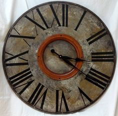 30 Inch  LARGE WALL CLOCK with Roman Numerals, Antiqued Rust Metal Trim, Bold Gray Big Clock by ClocksByHomestead on Etsy