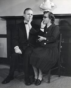 Leonard Dowdy and Juanita Morgan, Perkins students with deafblindness, seated on a piano bench using the Tadoma method to communicate. Visit the Perkins Archives Flicker page: http://www.flickr.com/photos/perkinsarchive/collections/